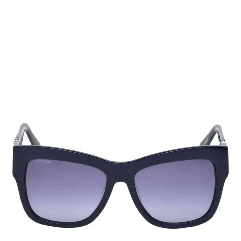 SWAROVSKI Womens Black/Purple Square Sunglasses 54cm