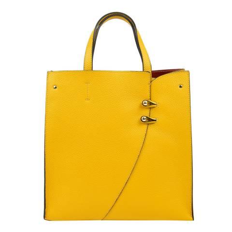 Luisa Vannini Yellow Leather Top Handle Bag