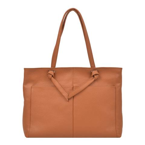 Anna Luchini Brown Leather Top Landle Bag
