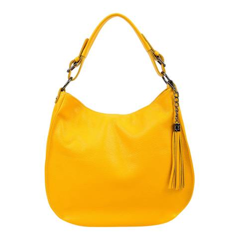 Luisa Vannini Yellow Leather Tote Bag