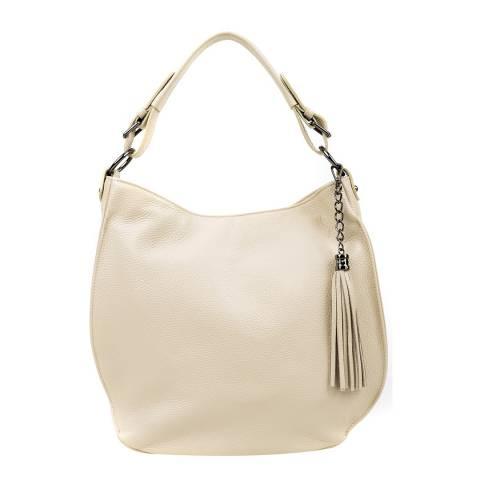 Luisa Vannini Beige Leather Tote Bag
