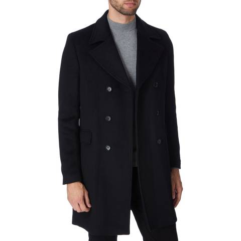 Gianni Feraud Black Fahri Wool Blend Overcoat