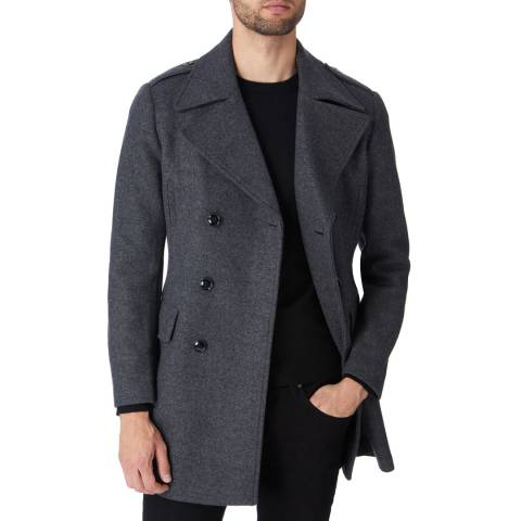 Gianni Feraud Charcoal Double Breasted Wool Blend Coat