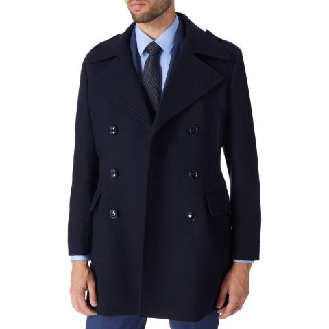 Gianni Feraud Navy Double Breasted Wool Blend Coat