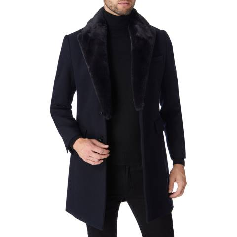 Gianni Feraud Navy Lenin Faux Fur Collared Wool Blend Coat