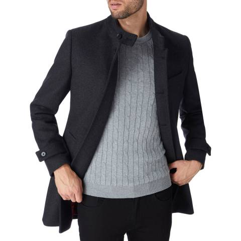 Gianni Feraud Charcoal Nehru Wool Blend Car Coat