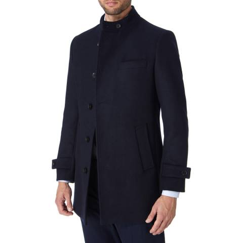 Gianni Feraud Navy Nehru Wool Blend Car Coat
