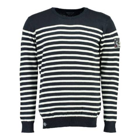 Geographical Norway Navy/White Frontal Cotton Jumper