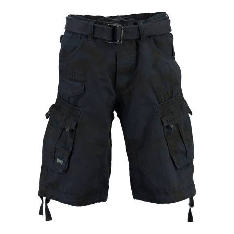 Geographical Norway Navy Panoramique Cotton Shorts