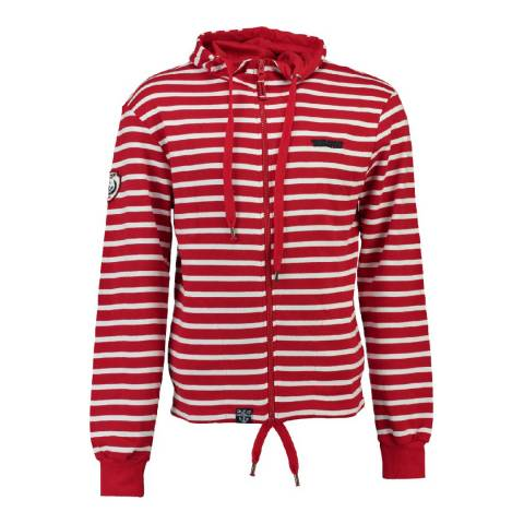 Geographical Norway Red/White Gennaro Cotton Hoodie