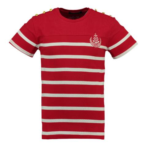 Geographical Norway Red/White Jalmain Cotton T-Shirt