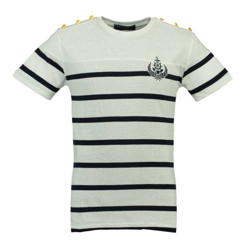 Geographical Norway White/Navy Jalmain Cotton T-Shirt