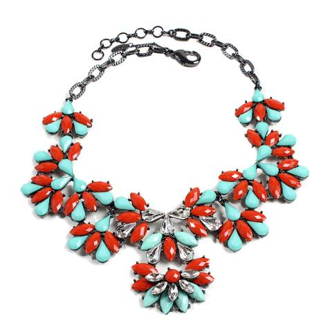 Amrita Singh Turquoise/Coral Crystal Necklace