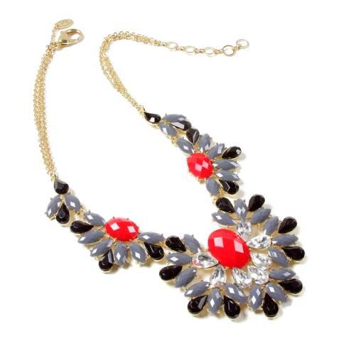 Amrita Singh Grey/Black/Red Crystal Necklace