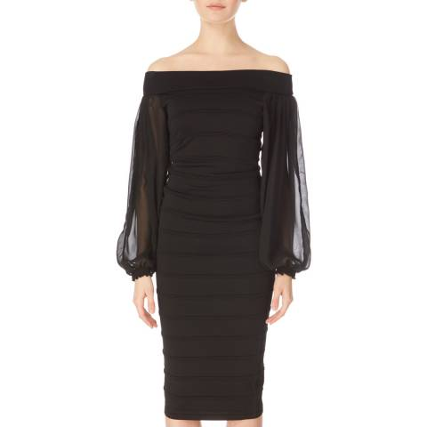 Amanda Wakeley Black Knit Chiffon Sleeve Dress