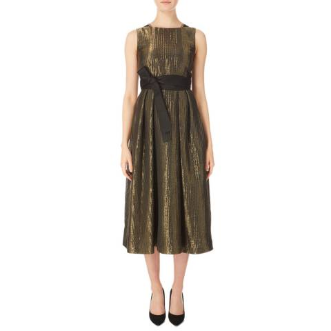 Amanda Wakeley Gold/Black Lace Trimmed Cocktail Dress