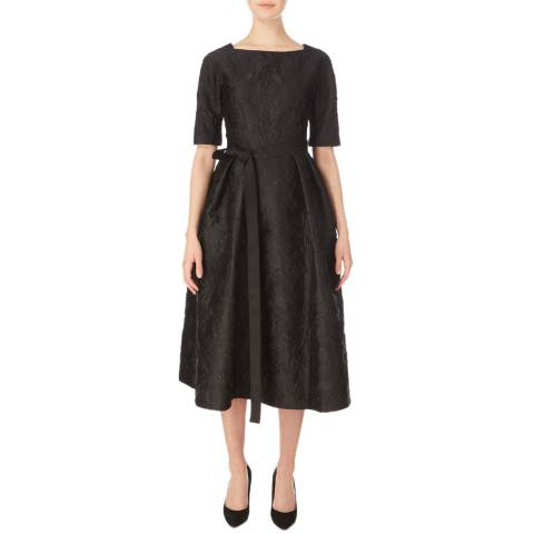Amanda Wakeley Black Cloque Jacquard Cocktail Dress