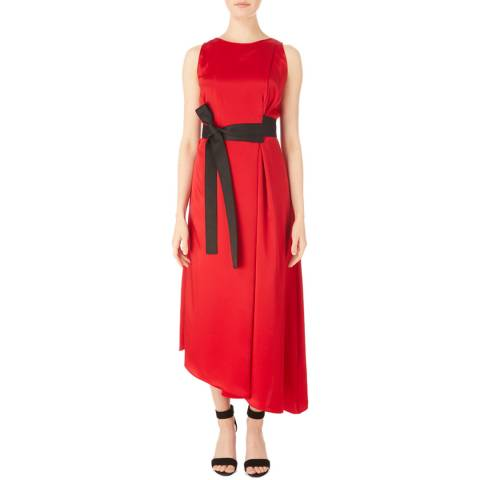 Amanda Wakeley Lipstick Satin Sleeveless Belted Dress