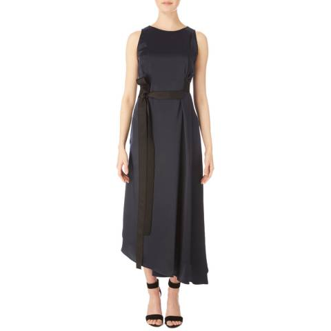Amanda Wakeley Midnight Satin Sleeveless Belted Dress
