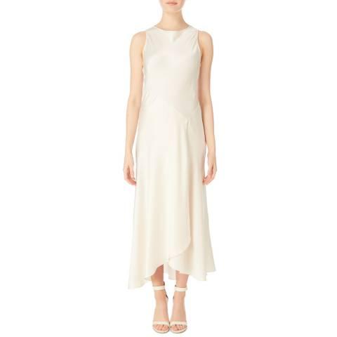 Amanda Wakeley Champagne Satin Bias Midi Dress