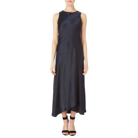 Amanda Wakeley Midnight Satin Bias Midi Dress