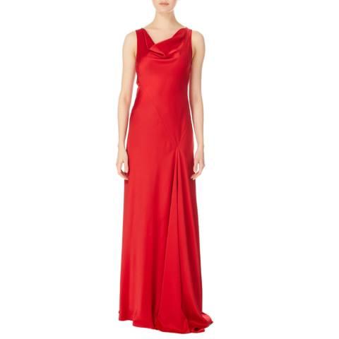Amanda Wakeley Lipstick Viscose Satin Bias Dress