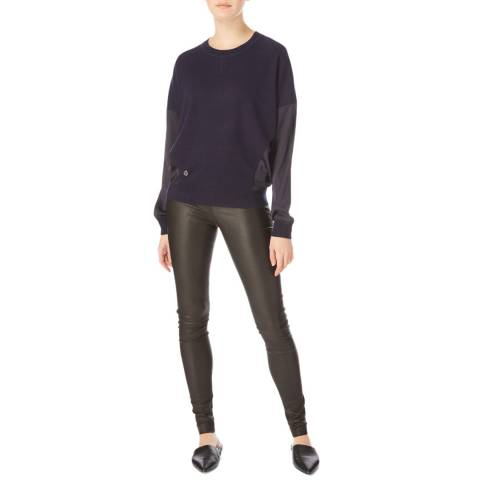 Amanda Wakeley Navy Round Neck Cashmere Knit