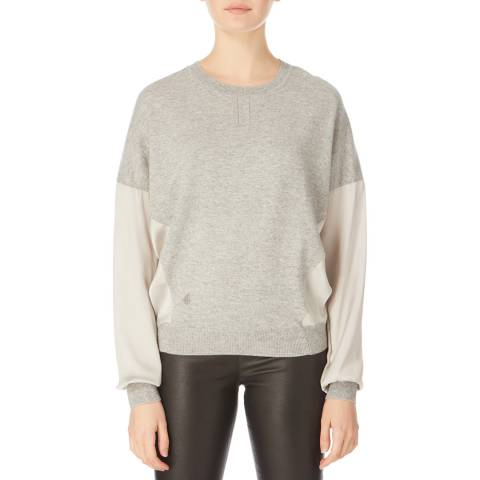 Amanda Wakeley Grey Round Neck Cashmere Blend Knit