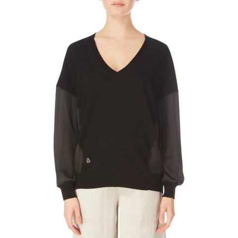 Amanda Wakeley Deep Neck Knit Cashmere Blend Black Size Extra Small