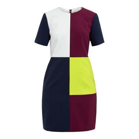 Ted Baker Red/Multi Ardell Colour Block Dress