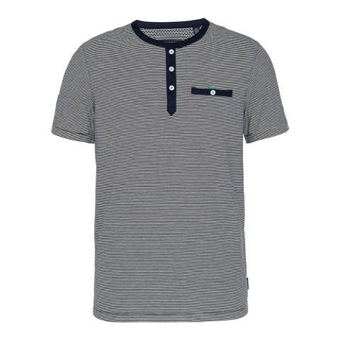 Ted Baker Navy Labdorr Striped Henley T-Shirt