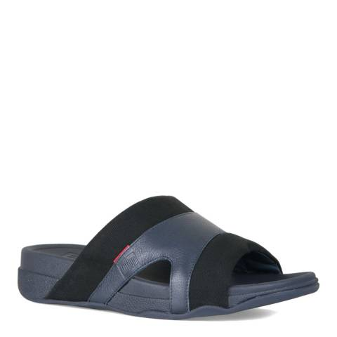 FitFlop Black Navy Freeway Pool Slide Sandal
