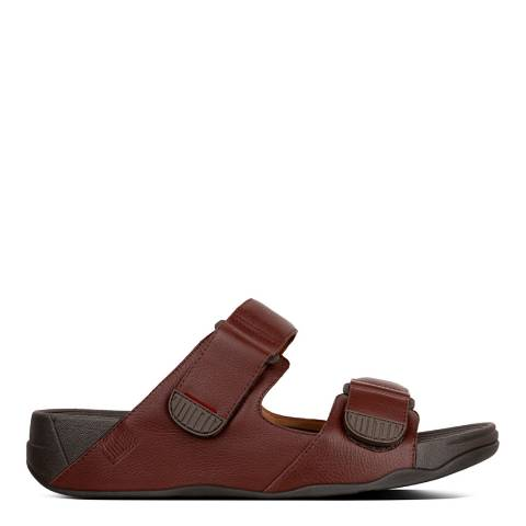 FitFlop Brown Gogh Moc Leather Slide Sandal