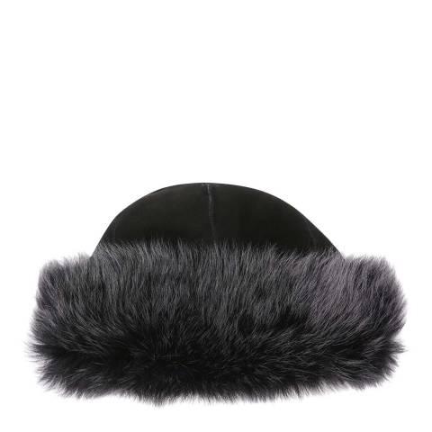 Laycuna London Luxury Black/Dark Grey Sheepskin Hat