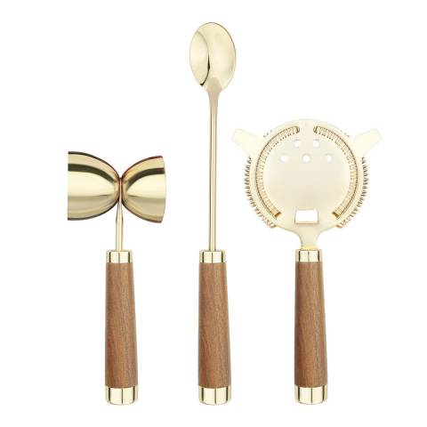 Christmas Bar 3 Piece Final Touch Brass Drink Mixing Set