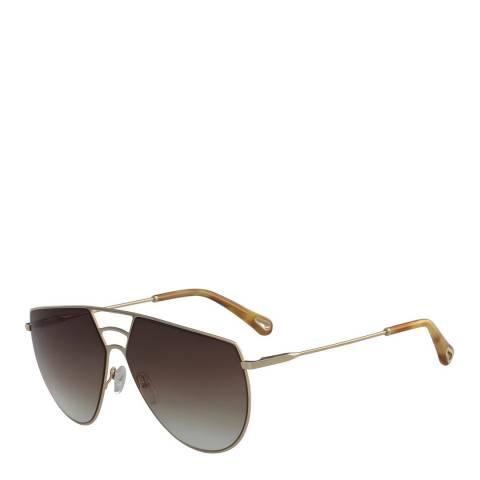 Chloe Women Gold Brown Chloe Angular Sunglasses 62mm