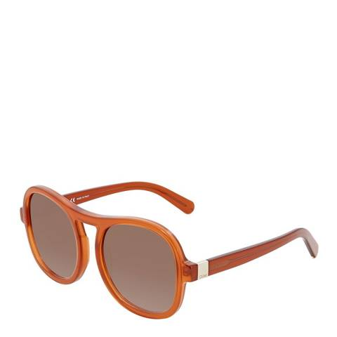 Chloe Unisex Orange Brown Chloe Square Sunglasses 56mm