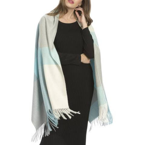 JayLey Collection Blue and Grey Cashmere Blend Wrap