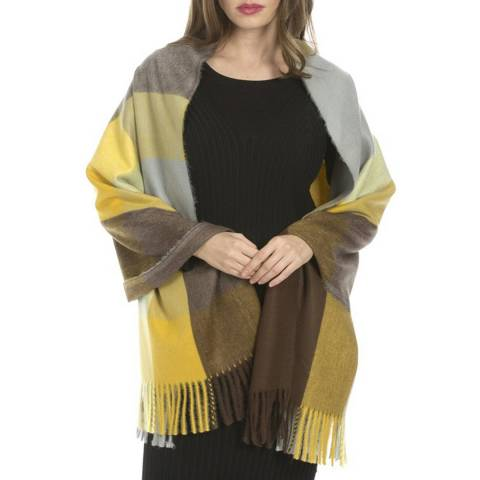 JayLey Collection Mustard and Grey Cashmere Blend Wrap