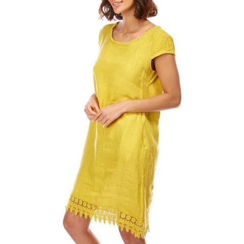 Comptoir Du Lin Yellow Embroidered Linen Shift Dress
