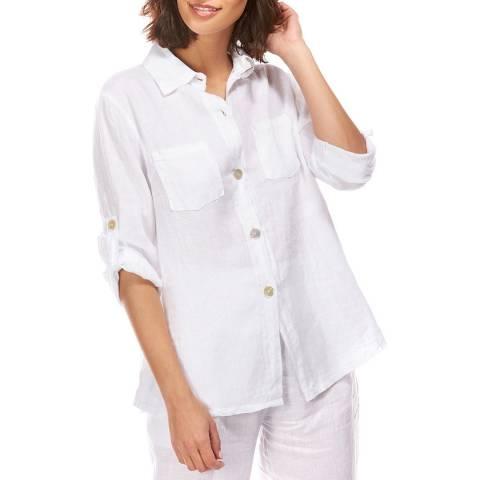 LE MONDE DU LIN White Button Linen Shirt