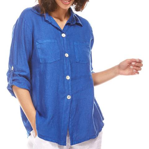 Toutes belles en LIN Royal Blue Button Linen Shirt