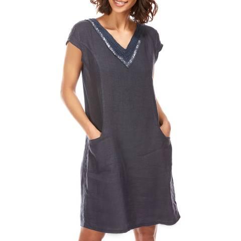 LE MONDE DU LIN Midnight Sequin Neck Linen Dress