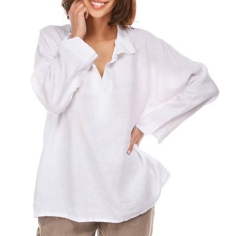 Toutes belles en LIN White Open Collar Linen Shirt
