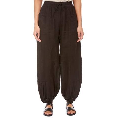 LE MONDE DU LIN Black Balloon Linen Trousers