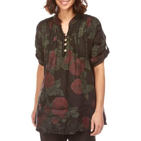 Toutes belles en LIN Black Button Floral Linen Tunic