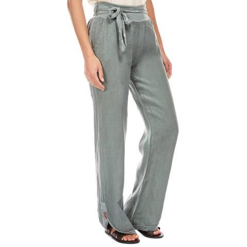 LE MONDE DU LIN Mint Button Wide Linen Trousers