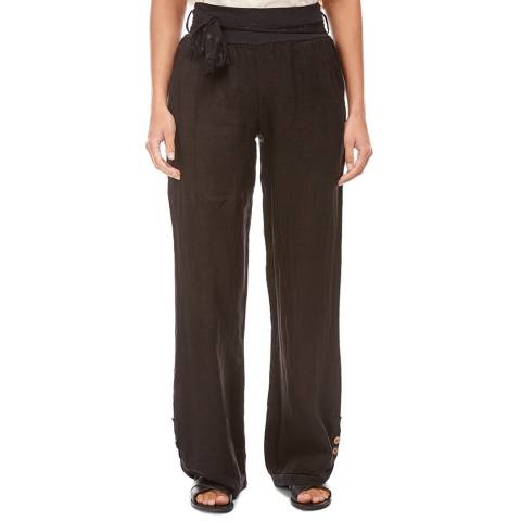 LE MONDE DU LIN Black Button Wide Linen Trousers