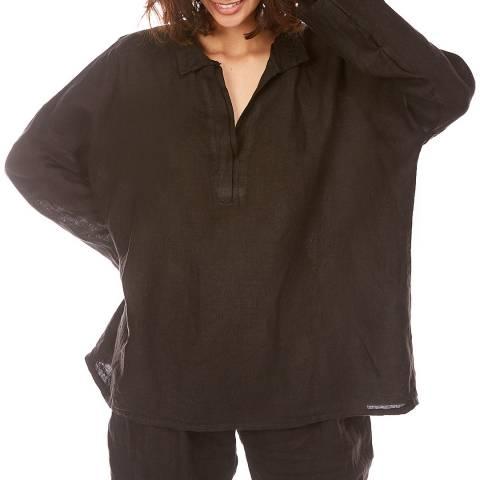 LE MONDE DU LIN Black Open Collar Linen Shirt