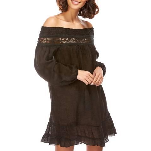 Comptoir Du Lin Black Embroidered Flared Linen Dress